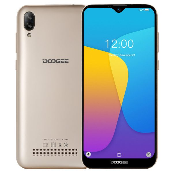 DOOGEE X90 6.1 inch HD Waterdrop Display Face Unlocking Android 8.1 3400mAh 1GB RAM 16GB ROM MT6580A Quad Core 3G Smartphone - Gold