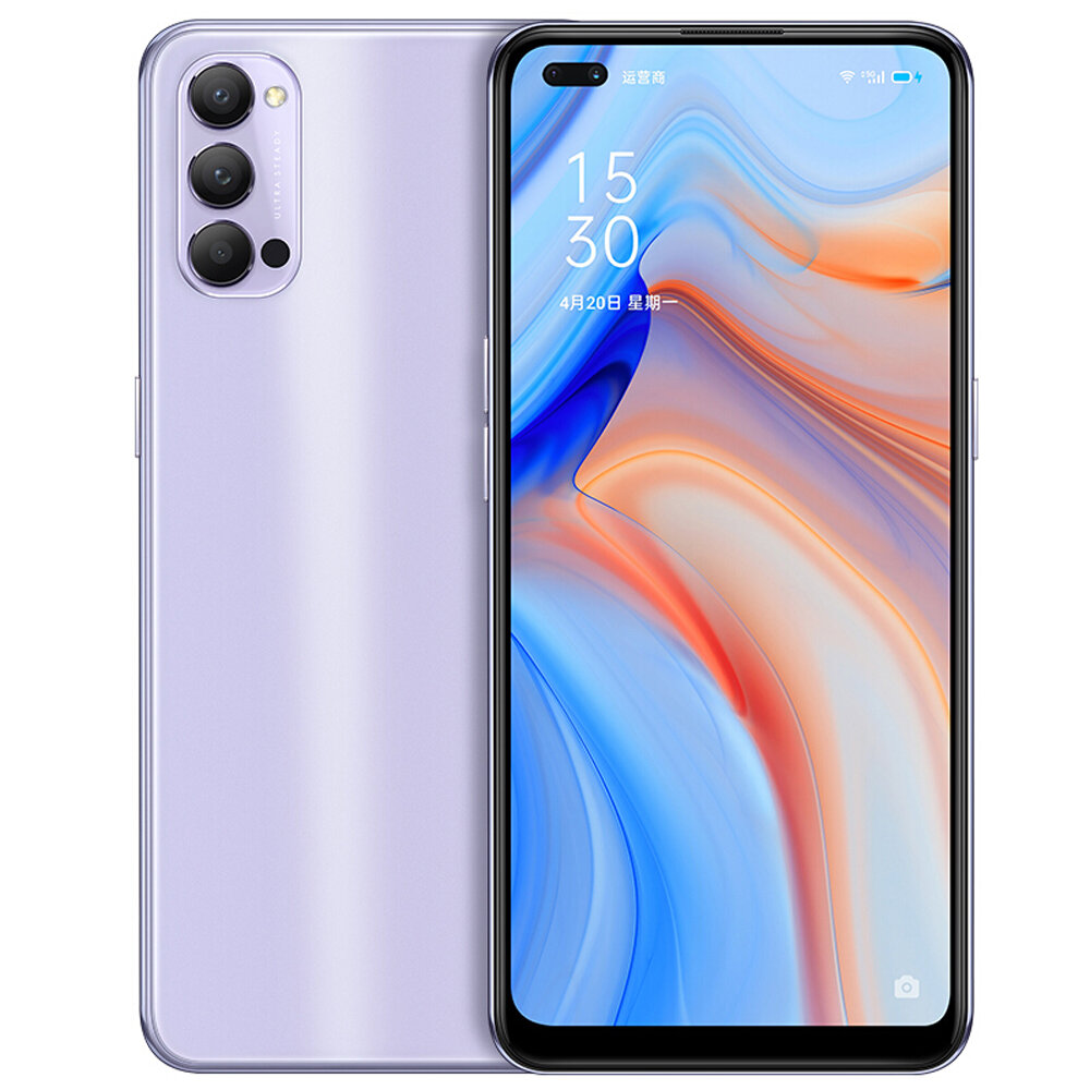 OPPO Reno4 5G CN Version 6.4 inch FHD+ 90Hz Refresh Rate NFC 65W SuperVOOC 2.0 32MP Dual Front Camera 8GB 256GB Snapdragon 765G Smartphone - Purple