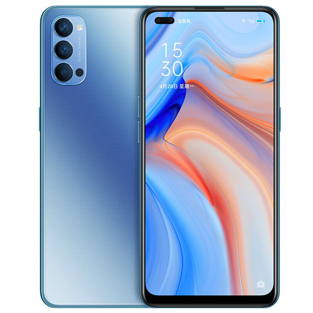 OPPO Reno4 5G CN Version 6.4 inch FHD+ 90Hz Refresh Rate NFC 65W SuperVOOC 2.0 32MP Dual Front Camera 8GB 128GB Snapdragon 765G Smartphone - Blue