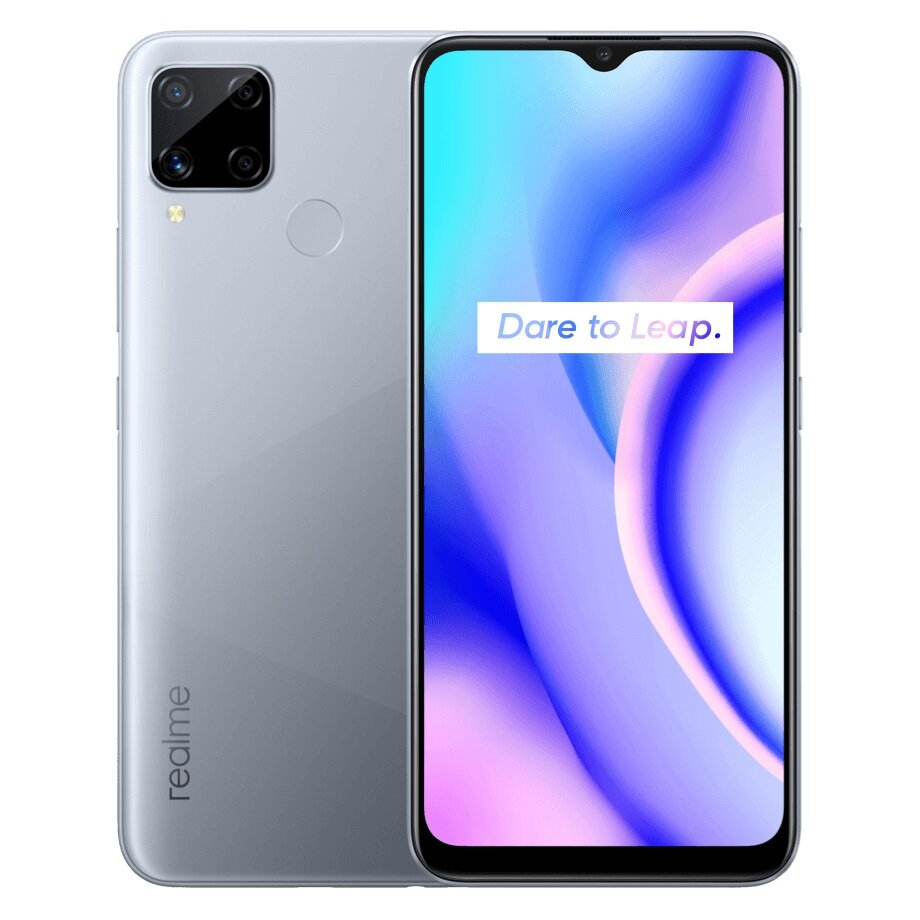 Realme C15 Global(RU) Version 6.5 inch 6000mAh Android 10 13MP AI Quad Camera 4GB 64GB Helio G35 Octa Core 4G Smartphone - Silver