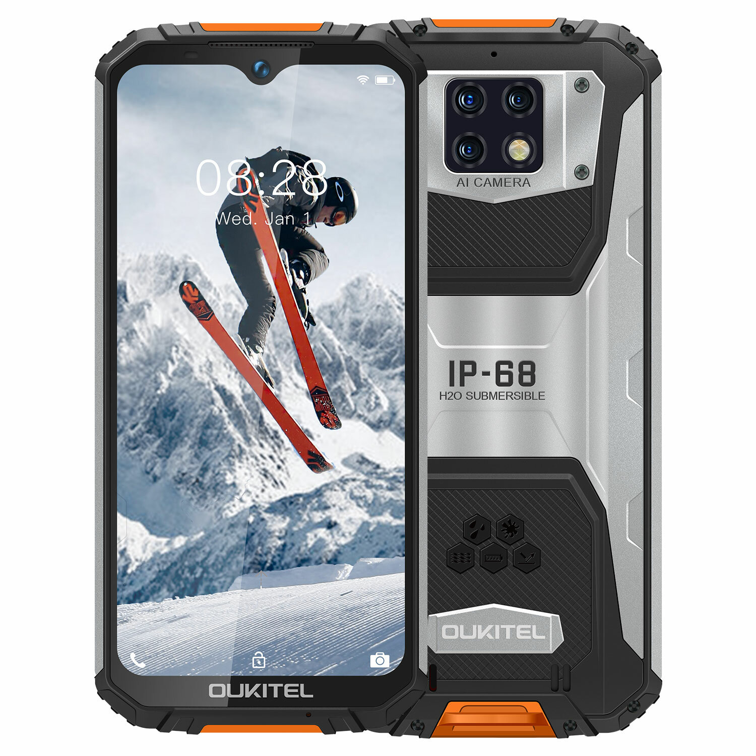 OUKITEL WP6 6.3 inch FHD+ IP68/IP69K Waterproof 10000mAh Android 9.0 16MP Triple Rear Camera 4GB 128GB Helio P60 4G Smartphone - Orange