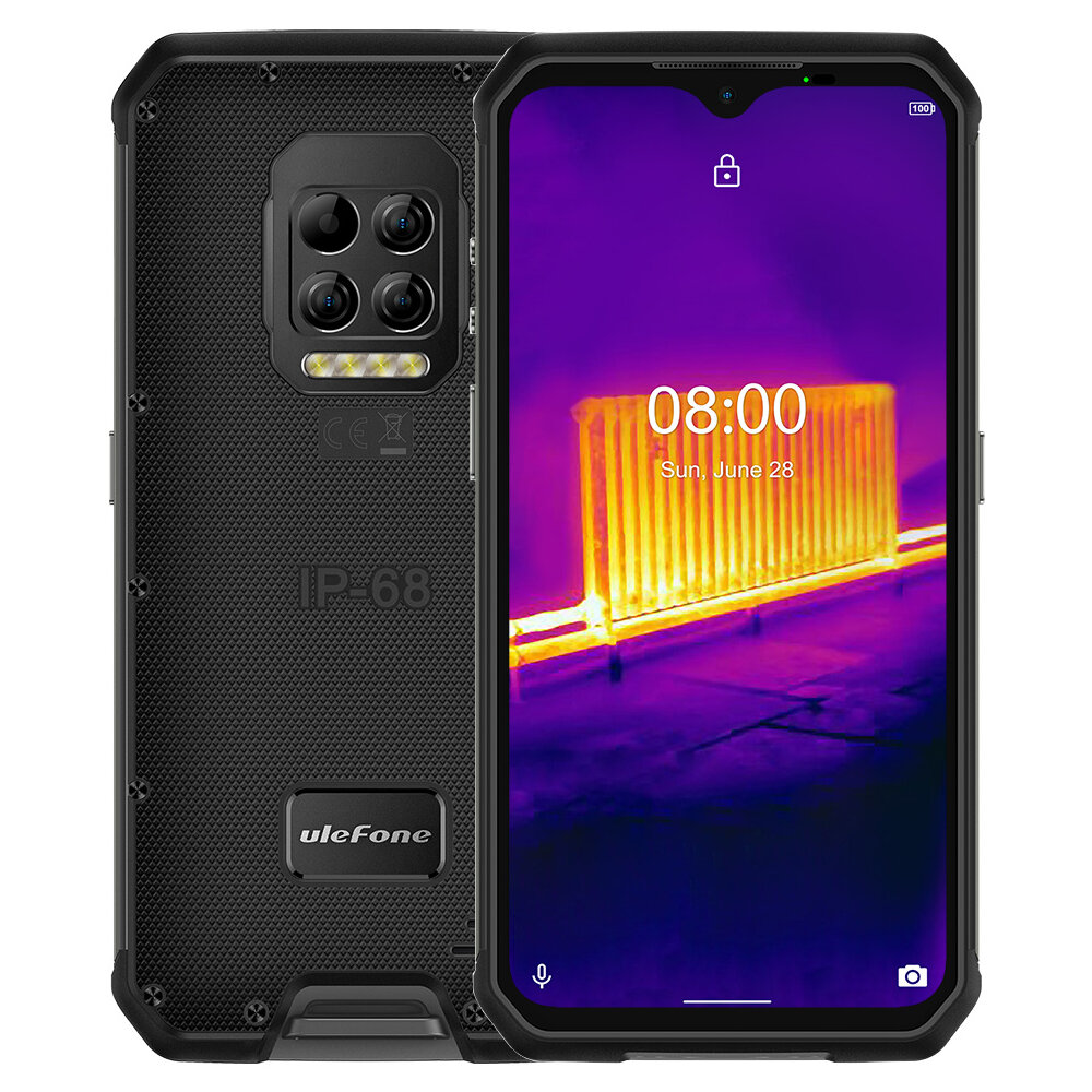 Ulefone Armor 9 Thermal Imaging Camera IP68 IP69K Waterproof 6.3 inch 8GB 128GB 64MP Camera NFC 6600mAh Helio P90 Octa Core 4G Rugged Smartphone - Black