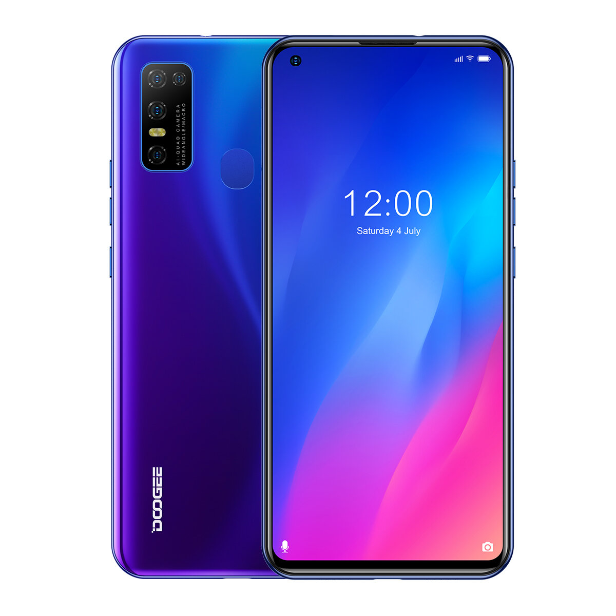 DOOGEE N30 Global Bands 6.55 inch Perforated Screen Android 10.0 4180mAh 16MP AI Quad Rear Camera 4GB 128GB Helio A25 4G Smartphone - Blue