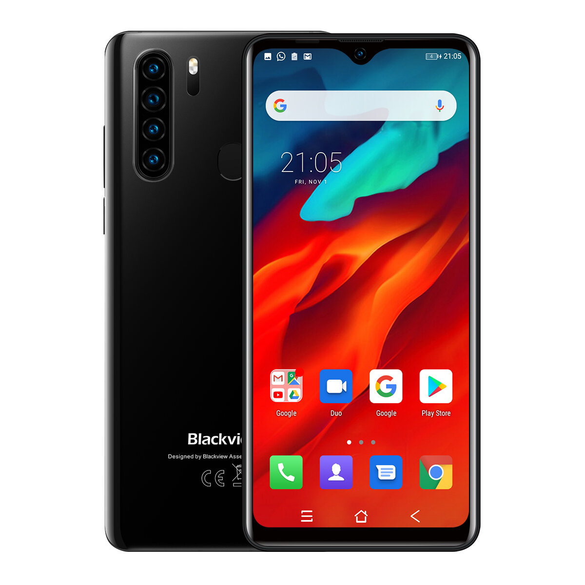 Blackview A80 Pro Global Bands 6.49 inch HD+ Waterdrop Display 4200mAh Android 9.0 13MP Quad Rear Camera 4GB 64GB Helio P25 Octa Core 4G Smartphone - Black