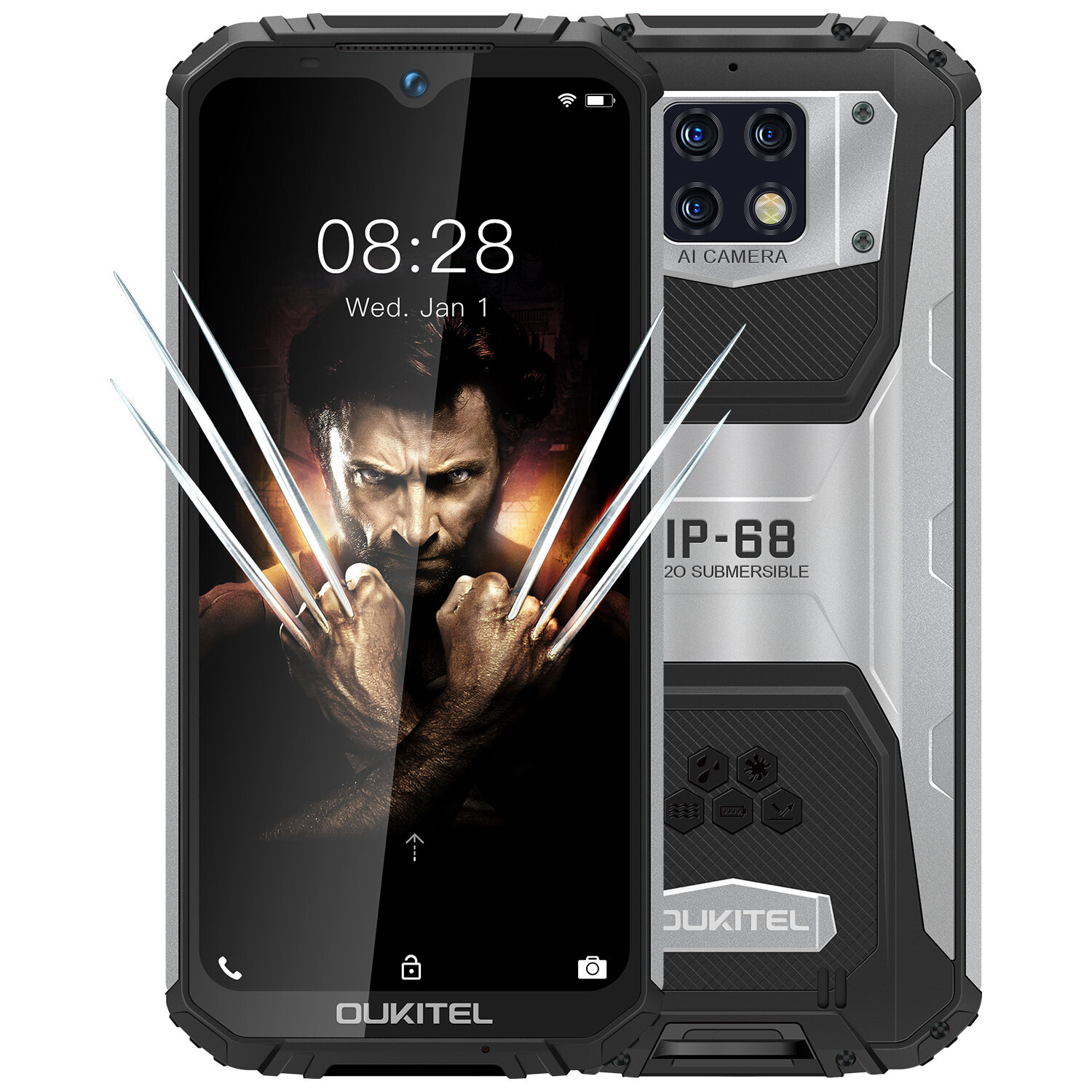 OUKITEL WP6 6.3 inch FHD+ IP68 Waterproof 10000mAh 48MP Triple Rear Camera 6GB 128GB Helio P70 4G Smartphone - Black
