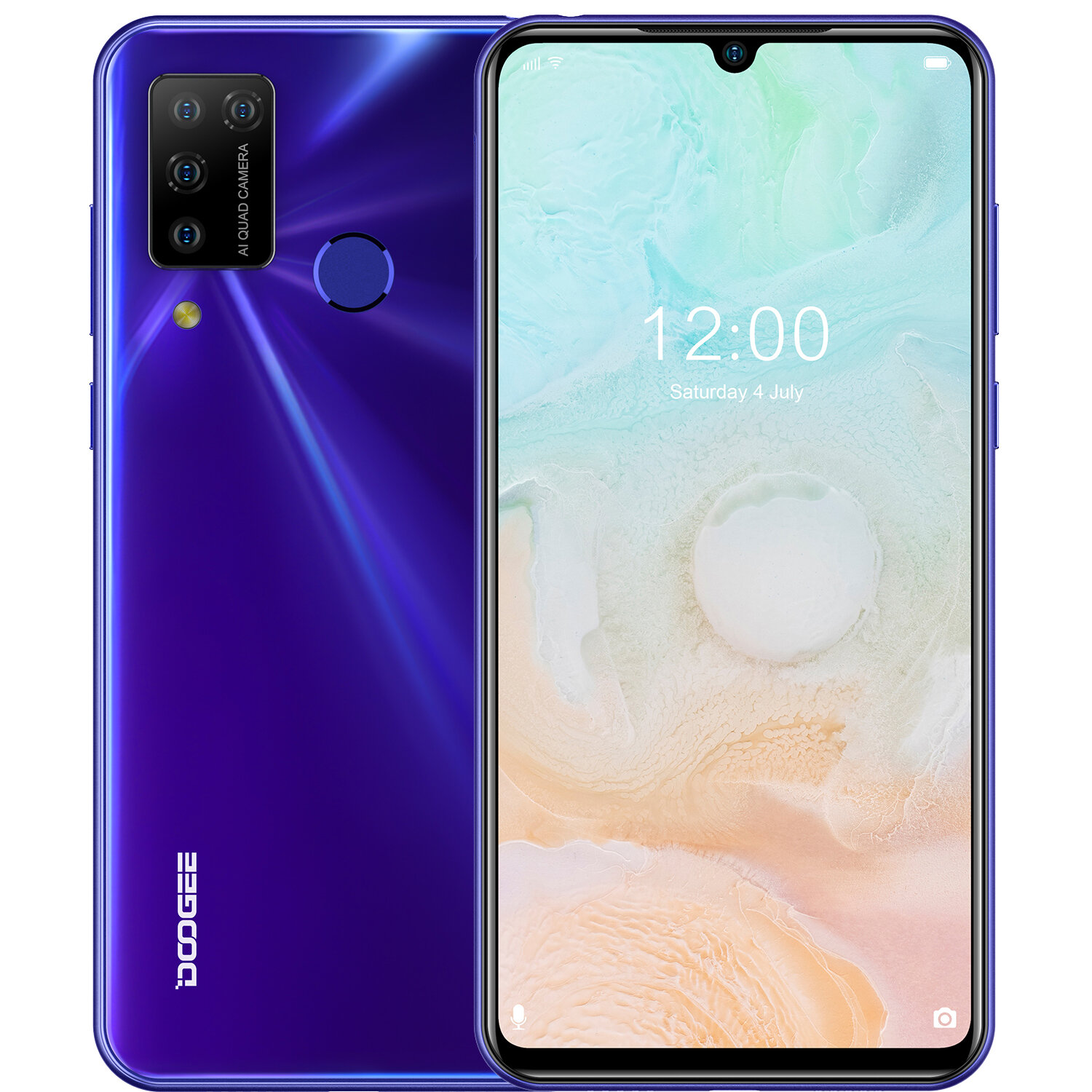 DOOGEE N20 Pro 6.3 inch FHD+ Waterdrop Display Android 10 4400mAh 16MP Quad Rear Camera 6GB 128GB Helio P60 Octa Core 4G Smartphone - Purple