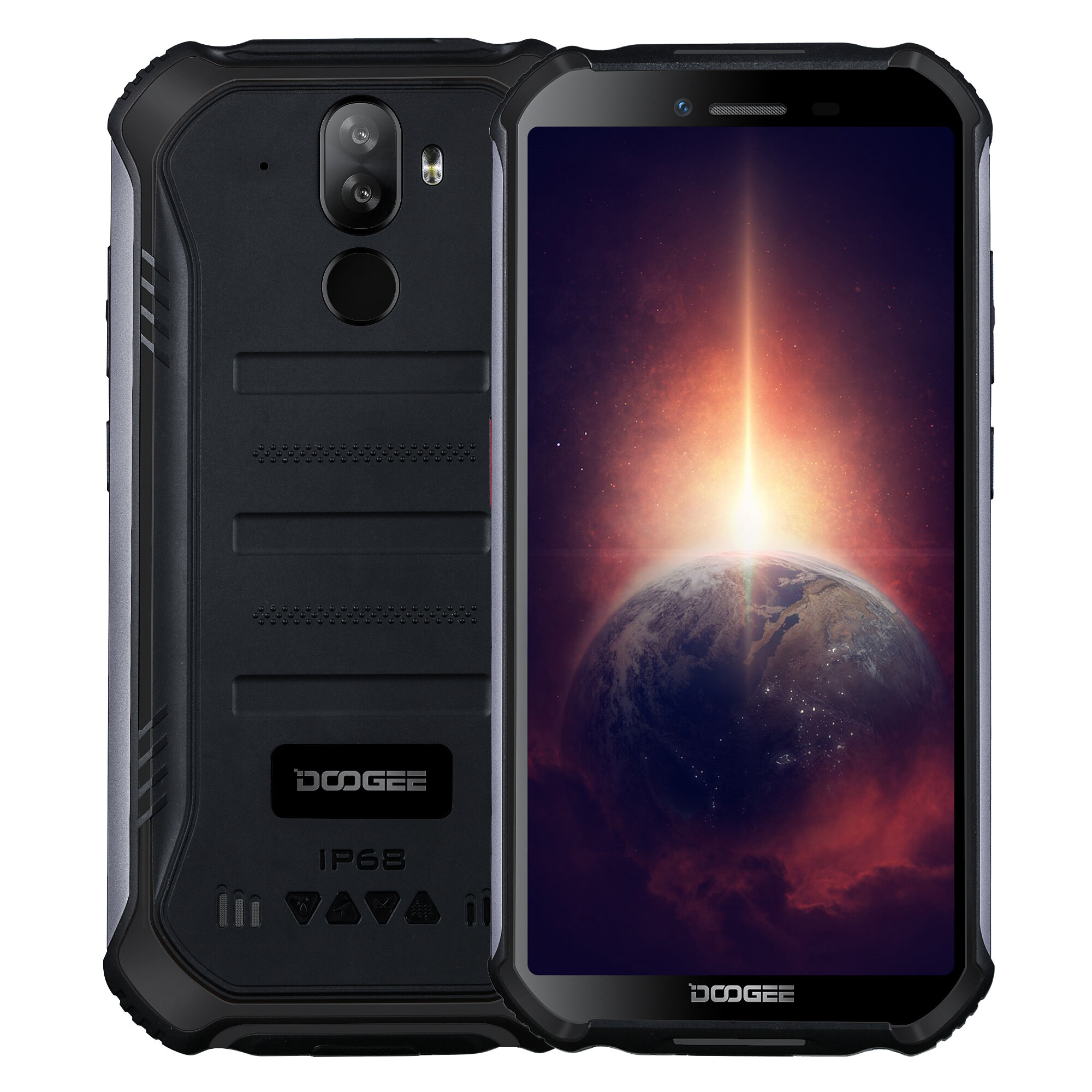 DOOGEE S40 Pro 5.45 inch IP68/IP69K Waterproof NFC Android 10.0 4650mAh 13MP Dual Rear Camera 4GB 64GB Helio A25 4G Smartphone - Black