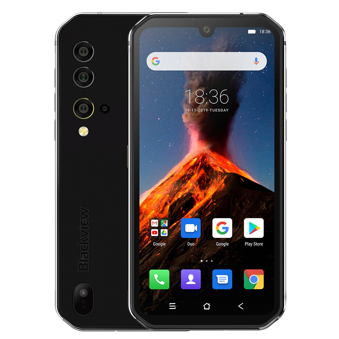 Blackview BV9900 Global Bands IP68/IP69K Waterproof 5.84 inch FHD+ NFC 4380mAh Android 9.0 48MP Quad Rear Camera 8GB 256GB Helio P90 4G Smartphone - Silver