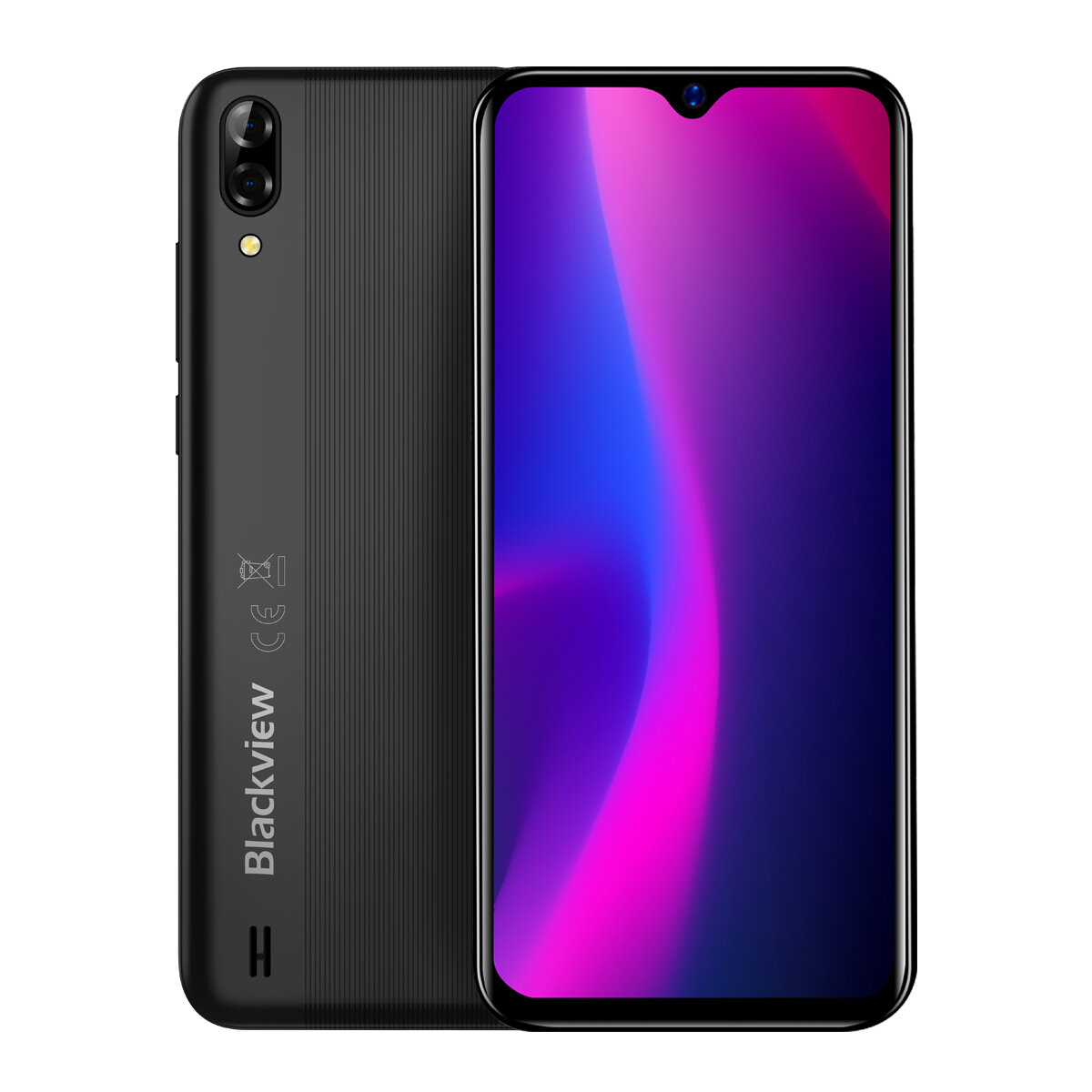 Blackview A60 6.1 inch 19:9 Waterdrop Screen 4080mAh Android 8.1 1GB RAM 16GB ROM MT6580A Quad Core 3G Smartphone - Black