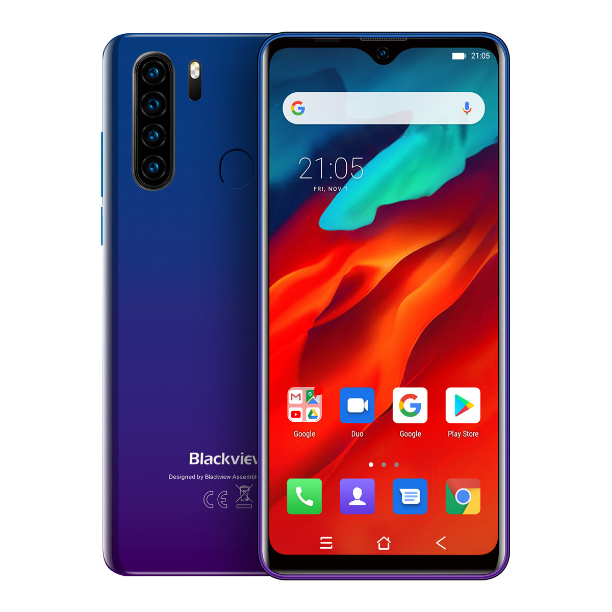 Blackview A80 Pro Global Bands 6.49 inch HD+ Waterdrop Display 4200mAh Android 9.0 13MP Quad Rear Camera 4GB 64GB Helio P25 Octa Core 4G Smartphone - Blue