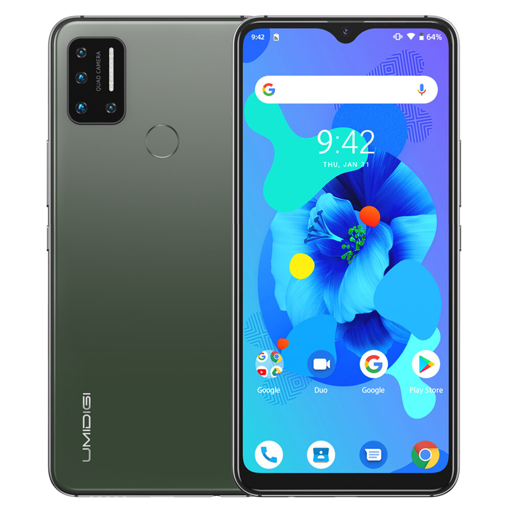 UMIDIGI A7 Global Bands 6.49 inch Waterdrop Display Android 10 4150mAh 16MP Quad Rear Camera 2+1 Cart Slots 4GB 64GB Helio P20 4G Smartphone - Green