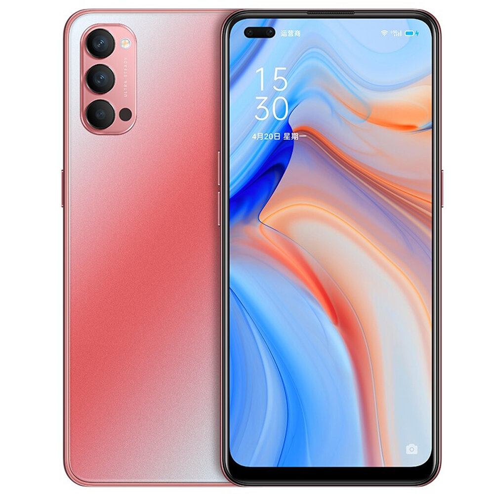 OPPO Reno4 5G CN Version 6.4 inch FHD+ 90Hz Refresh Rate NFC 65W SuperVOOC 2.0 32MP Dual Front Camera 8GB 128GB Snapdragon 765G Smartphone - Red