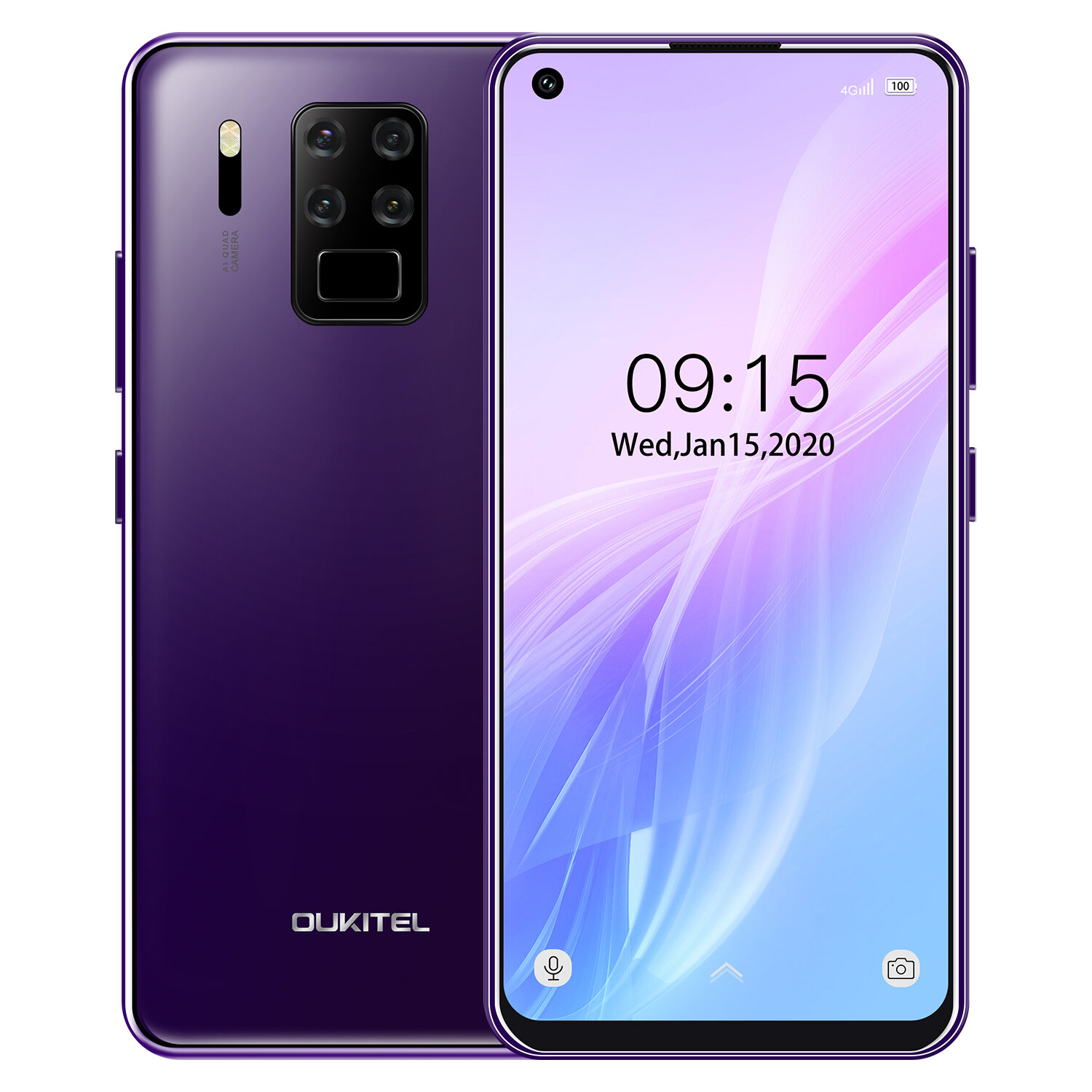 OUKITEL C18 Pro 6.55 inch HD+ 4000mAh Android 9.0 16MP Quad Rear Camera Face Unlock 4GB 64GB Helio P25 4G Smartphone - Purple