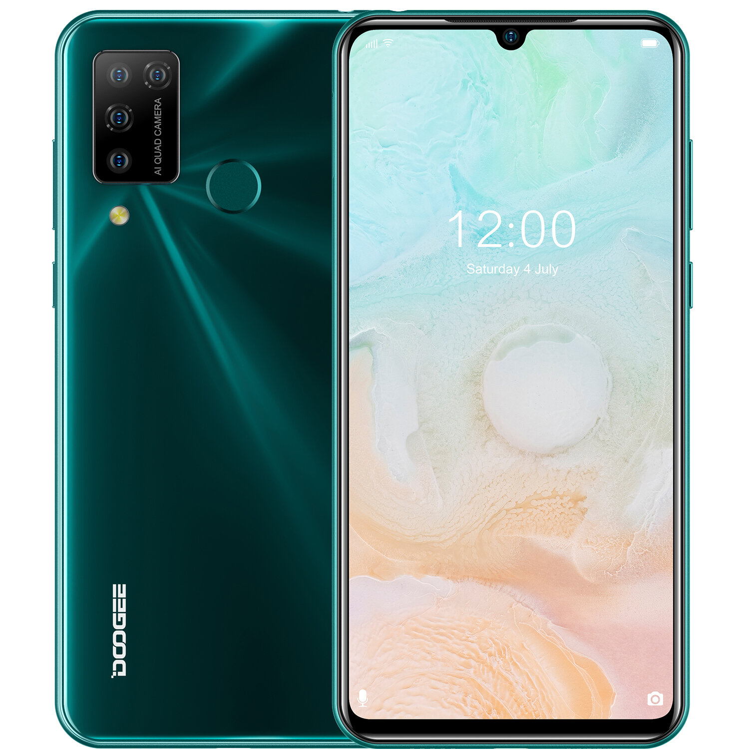 DOOGEE N20 Pro 6.3 inch FHD+ Waterdrop Display Android 10 4400mAh 16MP Quad Rear Camera 6GB 128GB Helio P60 Octa Core 4G Smartphone - Green