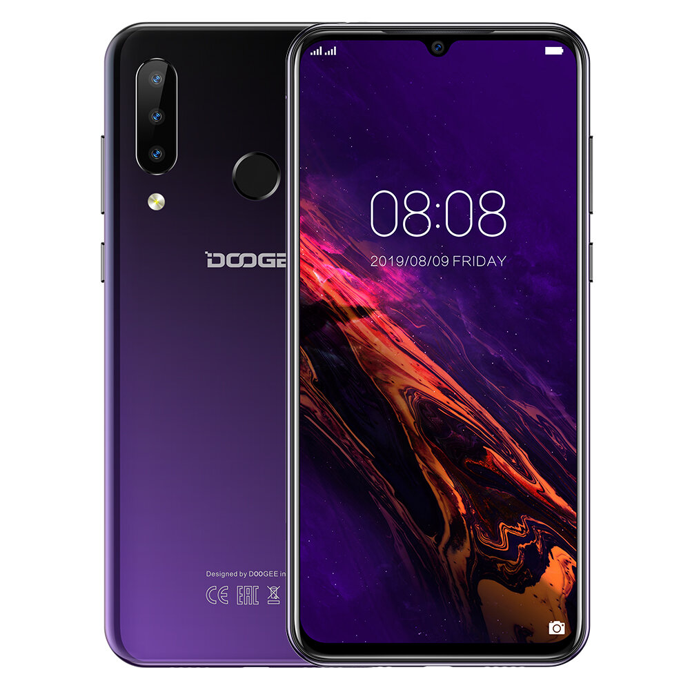 DOOGEE N20 6.3 inch FHD+ Android 9.0 4350mAh Triple Rear Cameras 16MP Front Camera 4GB 64GB Helio P23 4G Smartphone - Purple