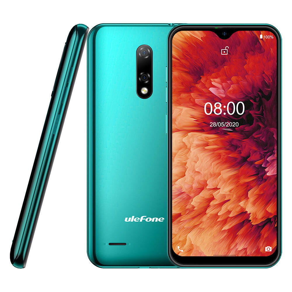 Ulefone Note 8P 5.5 inch Android 10 Dual Rear Camera 2GB RAM 16GB ROM MT6737 Quad core 4G Smartphone - Green