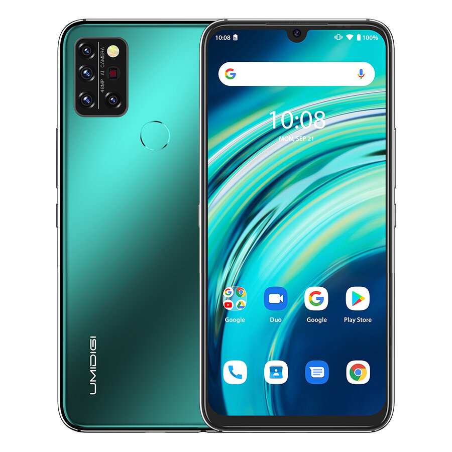 UMIDIGI A9 Pro Global Bands 6.3 inch FHD+ Infrared Thermometer 6GB 128GB Helio P60 Android 10 4150mAh 48MP AI Matrix Quad Camera 3 Card Slots 4G Smartphone - Green