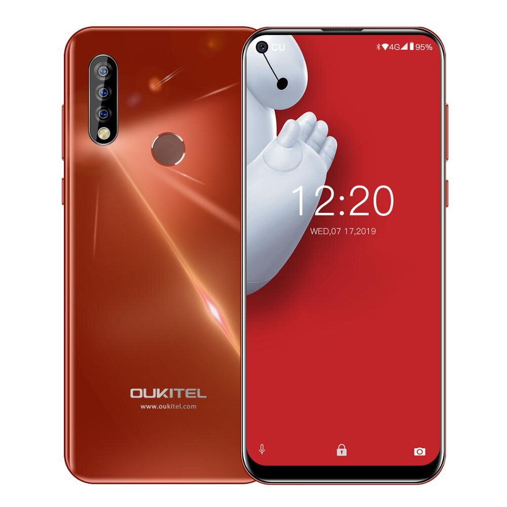 Oukitel C17 Pro 6.35 inch Android 9.0 3900mAh 13MP Triple Rear Camera 4GB 64GB MTK6763 4G Smartphone - Red