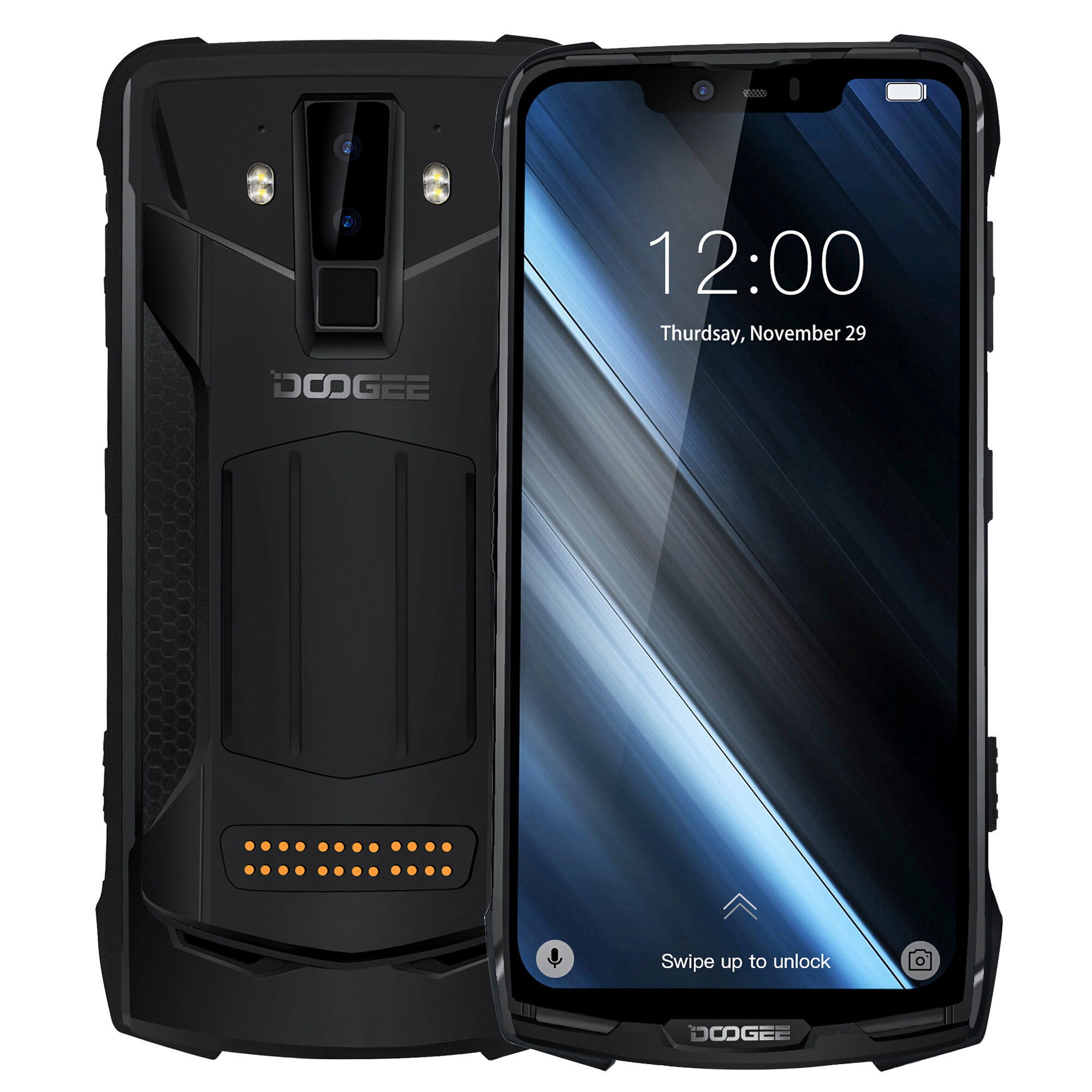 DOOGEE S90C Global Bands IP68 Waterproof 6.18 inch FHD+ NFC 5050mAh 16MP+8MP AI Dual Rear Cameras 4GB 64GB Helio P70 4G Smartphone - Black