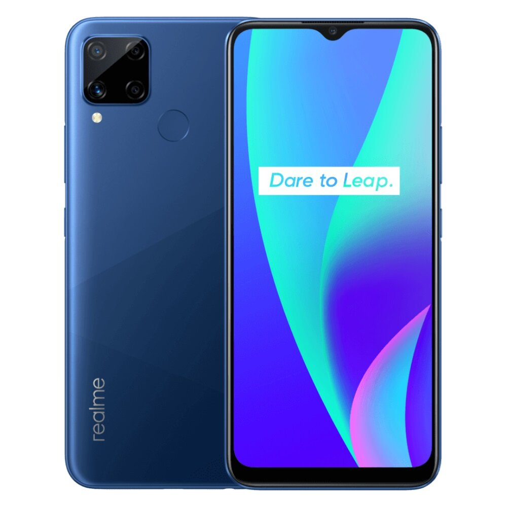 Realme C15 Indonesia Version 6.5 inch 6000mAh Android 10 13MP AI Quad Camera 3GB 64GB Helio G35 4G Smartphone - Blue