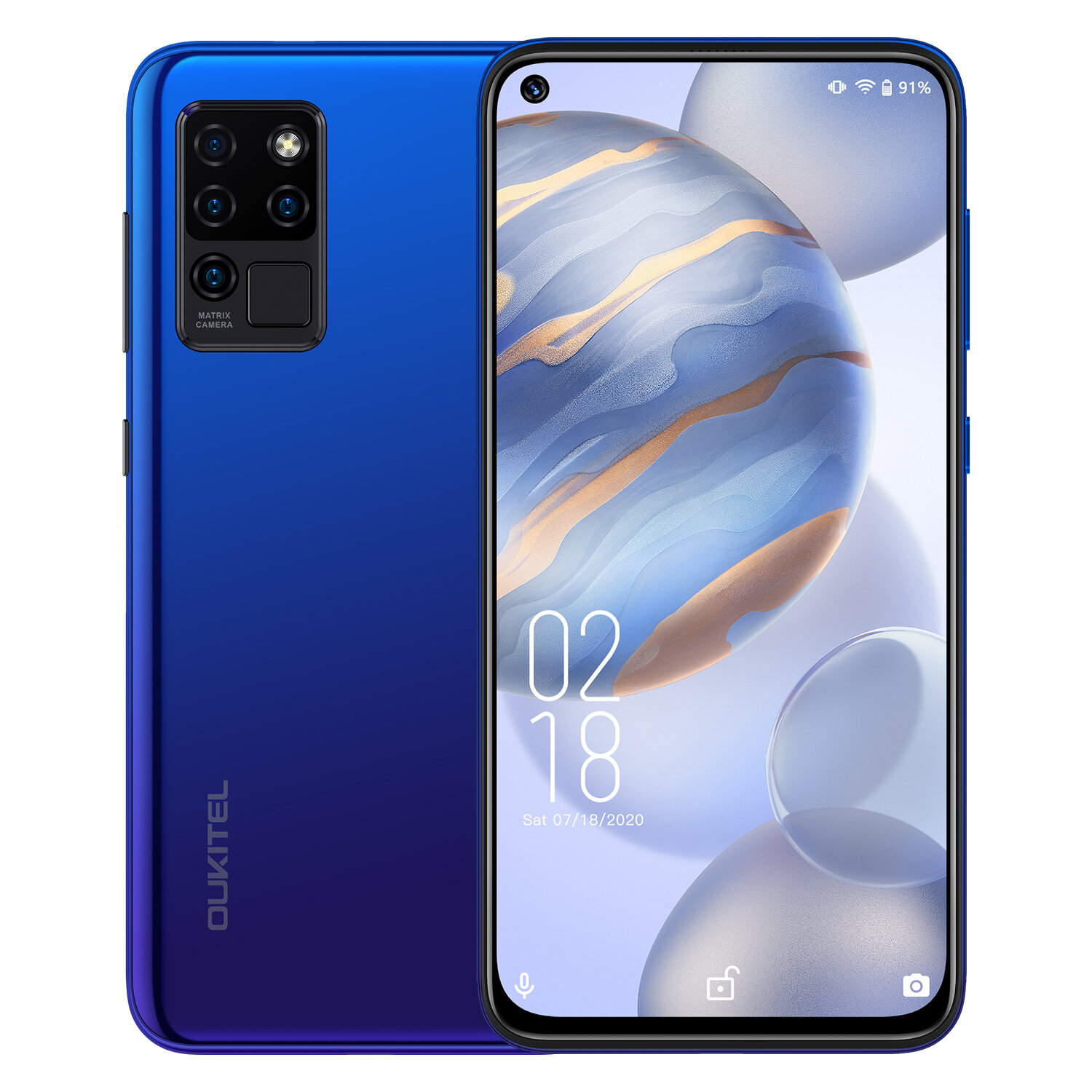 OUKITEL C21 6.4 inch FHD+ Hole Punch Display 4000mAh Android 10 20MP Front Camera 4GB 64GB Helio P60 4G Smartphone - Blue