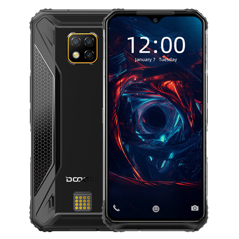 DOOGEE S95 Pro Global Bands IP68 Waterproof 6.3 inch FHD+ NFC 5150mAh Android 9.0 48MP Triple AI Rear Cameras 8GB RAM 256GB ROM Helio P90 Octa Core 4G Smartphone - Black