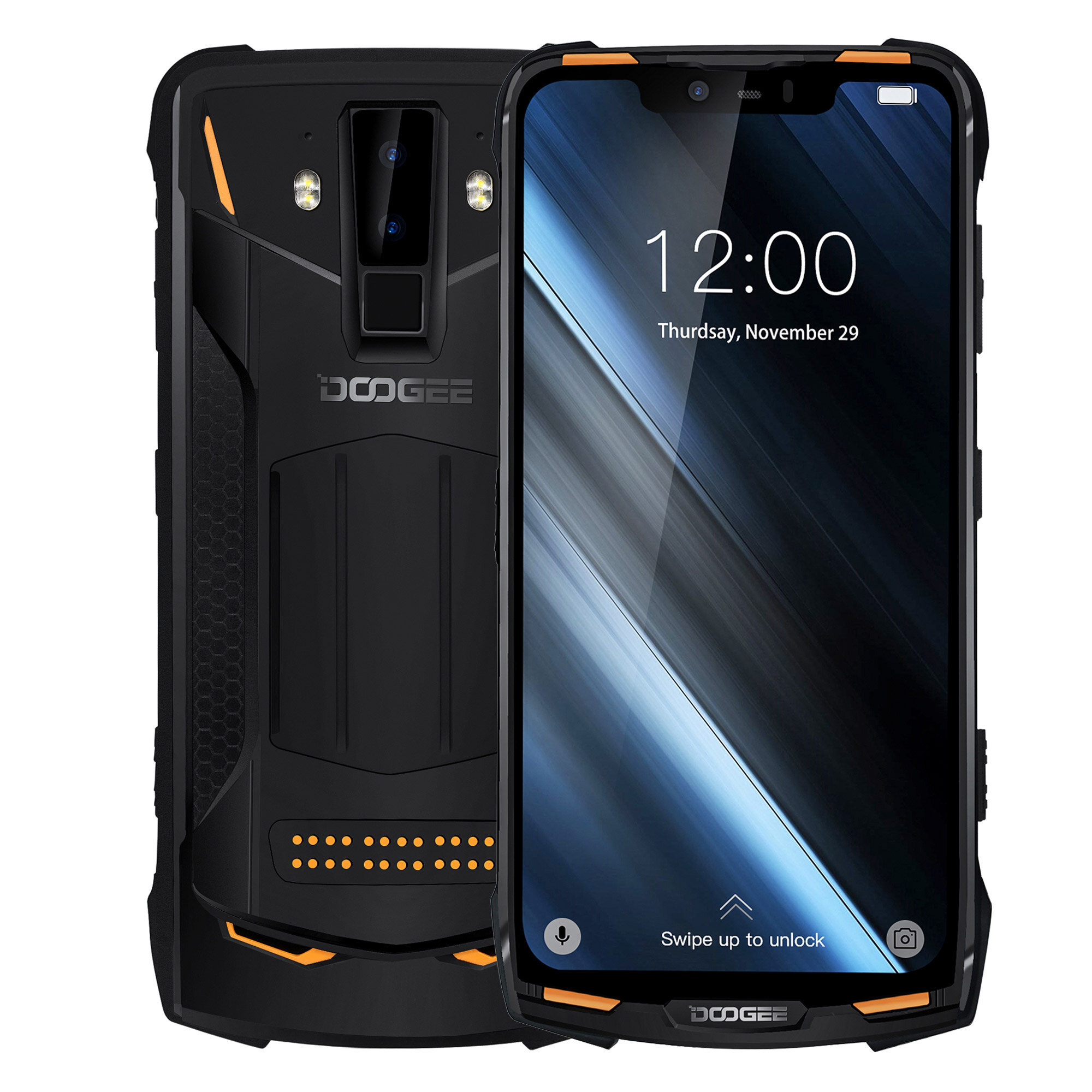 DOOGEE S90C Global Bands IP68 Waterproof 6.18 inch FHD+ NFC 5050mAh 16MP+8MP AI Dual Rear Cameras 4GB 64GB Helio P70 4G Smartphone - Orange