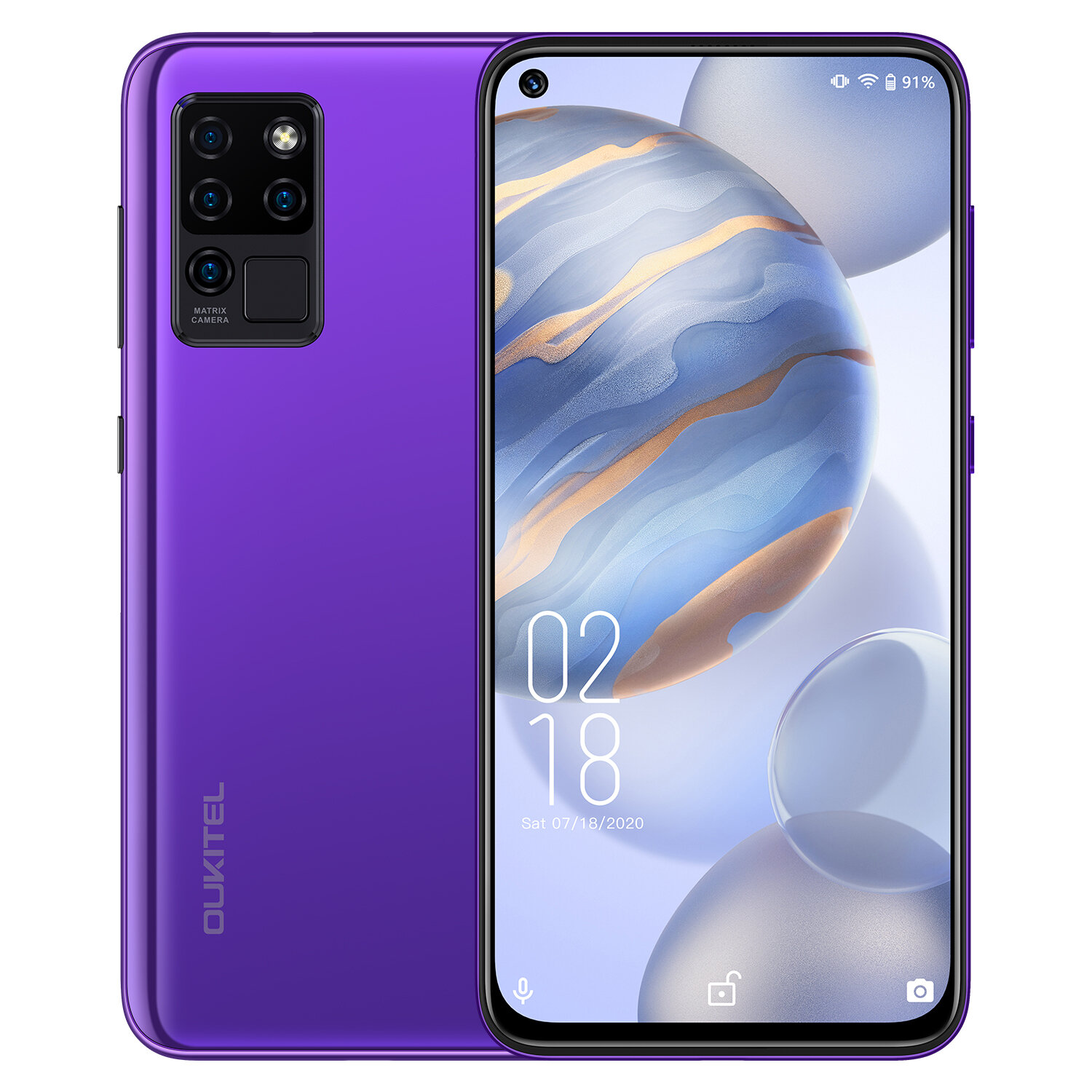 OUKITEL C21 6.4 inch FHD+ Hole Punch Display 4000mAh Android 10 20MP Front Camera 4GB 64GB Helio P60 4G Smartphone - Purple